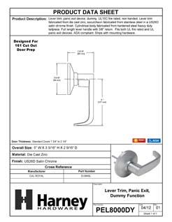 Product Data Specification Sheet Of A Panic Exit Device Dummy / Inactive Function Lever Trim - Satin Chrome Finish - Product Number PEL8000DY