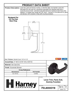 Product Data Specification Sheet Of A Panic Exit Device Dummy / Inactive Function Lever Trim - Duranodic Bronze Finish - Product Number PEL8000DYB