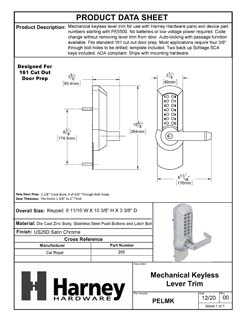 Product Data Specification Sheet Of A Panic Exit Device Storeroom / Keyed Function Mechanical Keyless Lever Trim - Satin Chrome Finish - Product Number PELMK