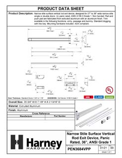 Product Data Specification Sheet Of A Narrow Stile Vertical Rod Exit Device, UL Panic Rated, 34 1/2 In. X 84 In. - Powder Coated Aluminum Finish - Product Number PEN3684VPP