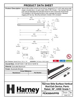 Product Data Specification Sheet Of A Narrow Stile Vertical Rod Exit Device, UL Panic Rated, 34 1/2 In. X 84 In. - Powder Coated Bronze Finish - Product Number PEN3684VPPB