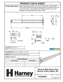Product Data Specification Sheet Of A Narrow Stile Panic Exit Device, UL Panic Rated, 36 In. Wide - Powder Coated Aluminum Finish - Product Number PEN36PP