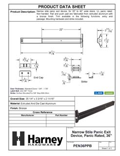 Product Data Specification Sheet Of A Narrow Stile Panic Exit Device, UL Panic Rated, 36 In. Wide - Powder Coated Bronze Finish - Product Number PEN36PPB