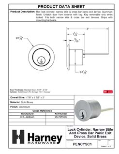 Product Data Specification Sheet Of A Panic Exit Device SC1 Lock Cylinder For Narrow Stile / Cross Bar Devices - Powder Coated Aluminum Finish - Product Number PENCYSC1