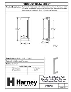 Product Data Specification Sheet Of A Panic Exit Device Pull Handle, 10 In. For Narrow Stile / Cross Bar Devices - Powder Coated Aluminum Finish - Product Number PENPH