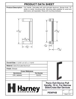 Product Data Specification Sheet Of A Panic Exit Device Pull Handle, 10 In. For Narrow Stile / Cross Bar Devices - Powder Coated Bronze Finish - Product Number PENPHB