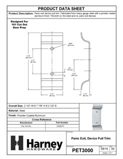 Product Data Specification Sheet Of A Panic Exit Device Trim Pull - Powder Coated Aluminum Finish - Product Number PET3000