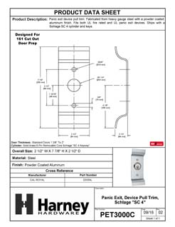 Product Data Specification Sheet Of A Panic Exit Device Trim Pull With SC1 Lock Cylinder - Powder Coated Aluminum Finish - Product Number PET3000C