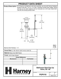 Product Data Specification Sheet Of A Bathroom Sink Pop Up Valve Assembly, 50 / 50, 1.25 In. To 1.5 In. Diameter - Satin Nickel Finish - Product Number POPV15