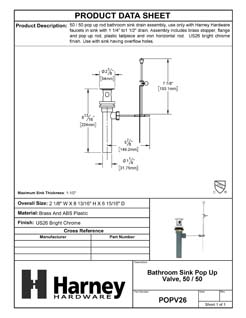 Product Data Specification Sheet Of A Bathroom Sink Pop Up Valve Assembly, 50 / 50, 1.25 In. To 1.5 In. Diameter - Chrome Finish - Product Number POPV26