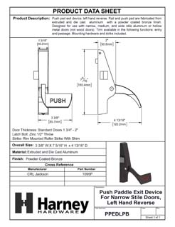 Product Data Specification Sheet Of A Push Paddle Exit Device For Narrow Stile Doors, Left Hand Reverse - Powder Coated Bronze Finish - Product Number PPEDLPB