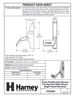 Product Data Specification Sheet Of A Push Paddle Exit Device For Narrow Stile Doors, Right Hand Reverse - Powder Coated Aluminum Finish - Product Number PPEDRP