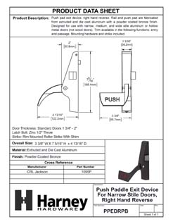 Product Data Specification Sheet Of A Push Paddle Exit Device For Narrow Stile Doors, Right Hand Reverse - Powder Coated Bronze Finish - Product Number PPEDRPB
