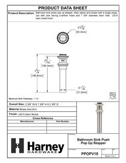 Product Data Specification Sheet Of A Bathroom Sink Push Pop Up Drain Stopper, 1.25 In. To 1.5 In. Diameter - Satin Nickel Finish - Product Number PPOPV15