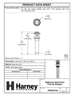 Product Data Specification Sheet Of A Bathroom Sink Push Pop Up Drain Stopper, 1.25 In. To 1.5 In. Diameter - Matte Black Finish - Product Number PPOPV19