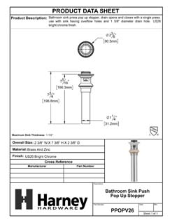 Product Data Specification Sheet Of A Bathroom Sink Push Pop Up Drain Stopper, 1.25 In. To 1.5 In. Diameter - Chrome Finish - Product Number PPOPV26