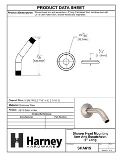 Product Data Specification Sheet Of A Shower Head Mounting Arm And Escutcheon, 6 In. Long - Satin Nickel Finish - Product Number SHA615