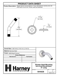 Product Data Specification Sheet Of A Shower Head Mounting Arm And Escutcheon, 6 In. Long - Chrome Finish - Product Number SHA626