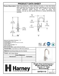 Product Data Specification Sheet Of A Single Hole Contemporary / Modern Bathroom Sink Faucet, 11 7/8 In. High, Boca Grande - Satin Nickel Finish - Product Number SHFB1115