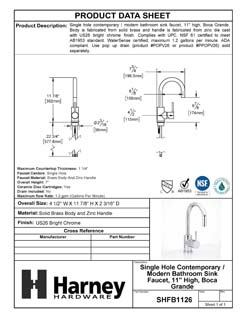 Product Data Specification Sheet Of A Single Hole Contemporary / Modern Bathroom Sink Faucet, 11 7/8 In. High, Boca Grande - Chrome Finish - Product Number SHFB1126