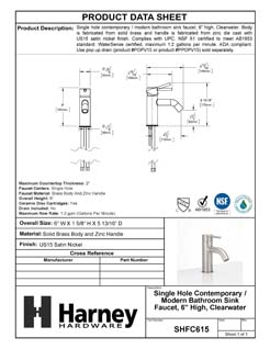 Product Data Specification Sheet Of A Single Hole Contemporary / Modern Bathroom Sink Faucet, 6 In. High, Clearwater - Satin Nickel Finish - Product Number SHFC615