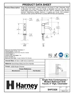 Product Data Specification Sheet Of A Single Hole Contemporary / Modern Bathroom Sink Faucet, 6 In. High, Clearwater - Chrome Finish - Product Number SHFC626