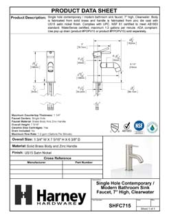 Product Data Specification Sheet Of A Single Hole Contemporary / Modern Bathroom Sink Faucet, 7 3/8 In. High, Clearwater - Satin Nickel Finish - Product Number SHFC715