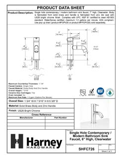 Product Data Specification Sheet Of A Single Hole Contemporary / Modern Bathroom Sink Faucet, 7 3/8 In. High, Clearwater - Chrome Finish - Product Number SHFC726