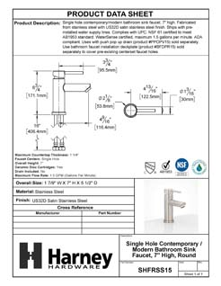 Product Data Specification Sheet Of A Single Hole Contemporary / Modern Bathroom Sink Faucet, 7 In. High - Satin Stainless Steel Finish - Product Number SHFRSS15