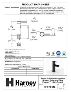 Product Data Specification Sheet Of A Single Hole Contemporary / Modern Bathroom Sink Faucet, 7 In. High - Matte Black Finish - Product Number SHFRSS19