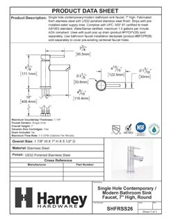Product Data Specification Sheet Of A Single Hole Contemporary / Modern Bathroom Sink Faucet, 7 In. High - Polished Stainless Steel Finish - Product Number SHFRSS26
