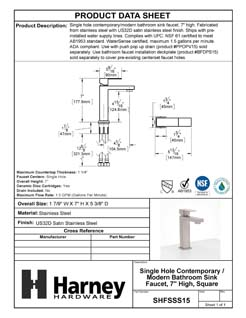Product Data Specification Sheet Of A Single Hole Contemporary / Modern Bathroom Sink Faucet, 7 In. High - Satin Stainless Steel Finish - Product Number SHFSSS15
