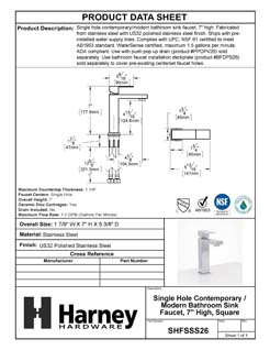 Product Data Specification Sheet Of A Single Hole Contemporary / Modern Bathroom Sink Faucet, 7 In. High - Polished Stainless Steel Finish - Product Number SHFSSS26
