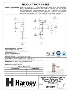 Product Data Specification Sheet Of A Single Hole Contemporary / Modern Bathroom Sink Faucet, 5 In. High, Westshore - Satin Nickel Finish - Product Number SHFW515