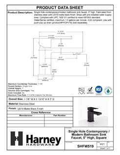 Product Data Specification Sheet Of A Single Hole Contemporary / Modern Bathroom Sink Faucet, 5 In. High - Matte Black Finish - Product Number SHFW519