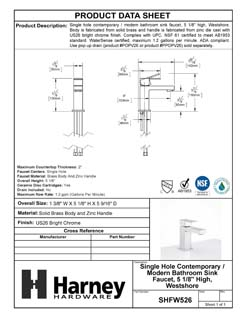 Product Data Specification Sheet Of A Single Hole Contemporary / Modern Bathroom Sink Faucet, 5 In. High, Westshore - Chrome Finish - Product Number SHFW526