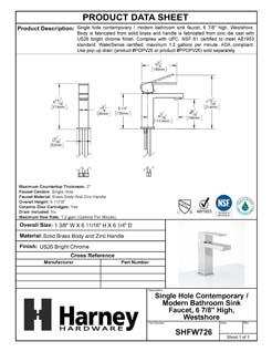 Product Data Specification Sheet Of A Single Hole Contemporary / Modern Bathroom Sink Faucet, 7 In. High, Westshore - Chrome Finish - Product Number SHFW726