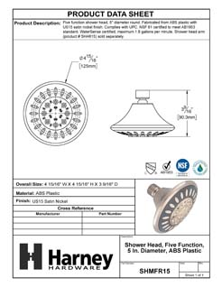 Product Data Specification Sheet Of A Shower Head, 5 Function, 5 In. Diameter, ABS Plastic - Satin Nickel Finish - Product Number SHMFR15