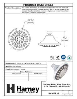 Product Data Specification Sheet Of A Shower Head, 5 Function, 5 In. Diameter, ABS Plastic - Chrome Finish - Product Number SHMFR26