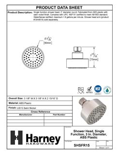 Product Data Specification Sheet Of A Shower Head, Single Function, 3 In. Diameter, ABS Plastic - Satin Nickel Finish - Product Number SHSFR15