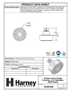 Product Data Specification Sheet Of A Shower Head, Single Function, 3 In. Diameter, ABS Plastic - Chrome Finish - Product Number SHSFR26