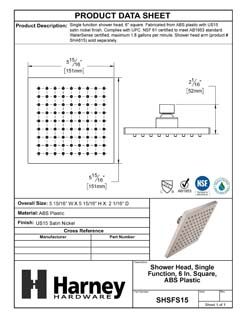 Product Data Specification Sheet Of A Shower Head, Single Function, 6 In. Square, ABS Plastic - Satin Nickel Finish - Product Number SHSFS15