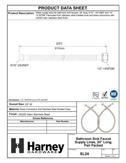 Product Data Specification Sheet Of A Bathroom Sink Faucet Supply Lines, 24 In. Long, Pair Packed - Polished Stainless Steel Finish - Product Number SL24