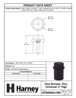 Product Data Specification Sheet Of A Universal Floor Stop, Solid Brass, 2 In. High - Oil Rubbed Bronze Finish - Product Number UFB5000U10B