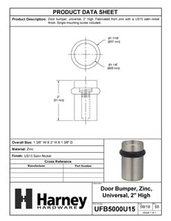 Product Data Specification Sheet Of A Universal Floor Stop, Solid Brass, 2 In. High - Satin Nickel Finish - Product Number UFB5000U15