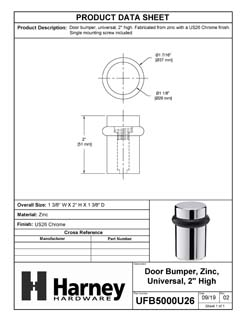 Product Data Specification Sheet Of A Universal Floor Stop, Solid Brass, 2 In. High - Chrome Finish - Product Number UFB5000U26