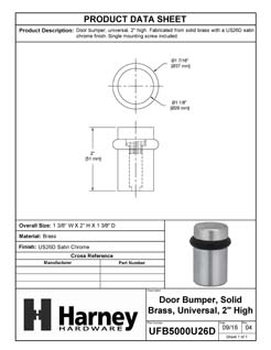 Product Data Specification Sheet Of A Universal Floor Stop, Solid Brass, 2 In. High - Satin Chrome Finish - Product Number UFB5000U26D