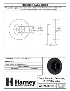 Product Data Specification Sheet Of A Wall Stop, Concave, 2 1/8 In. Diameter - Oil Rubbed Bronze Finish - Product Number WB250U10B