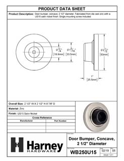 Product Data Specification Sheet Of A Wall Stop, Concave, 2 1/8 In. Diameter - Satin Nickel Finish - Product Number WB250U15