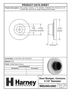 Product Data Specification Sheet Of A Wall Stop, Concave, 2 1/8 In. Diameter - Satin Chrome Finish - Product Number WB250U26D